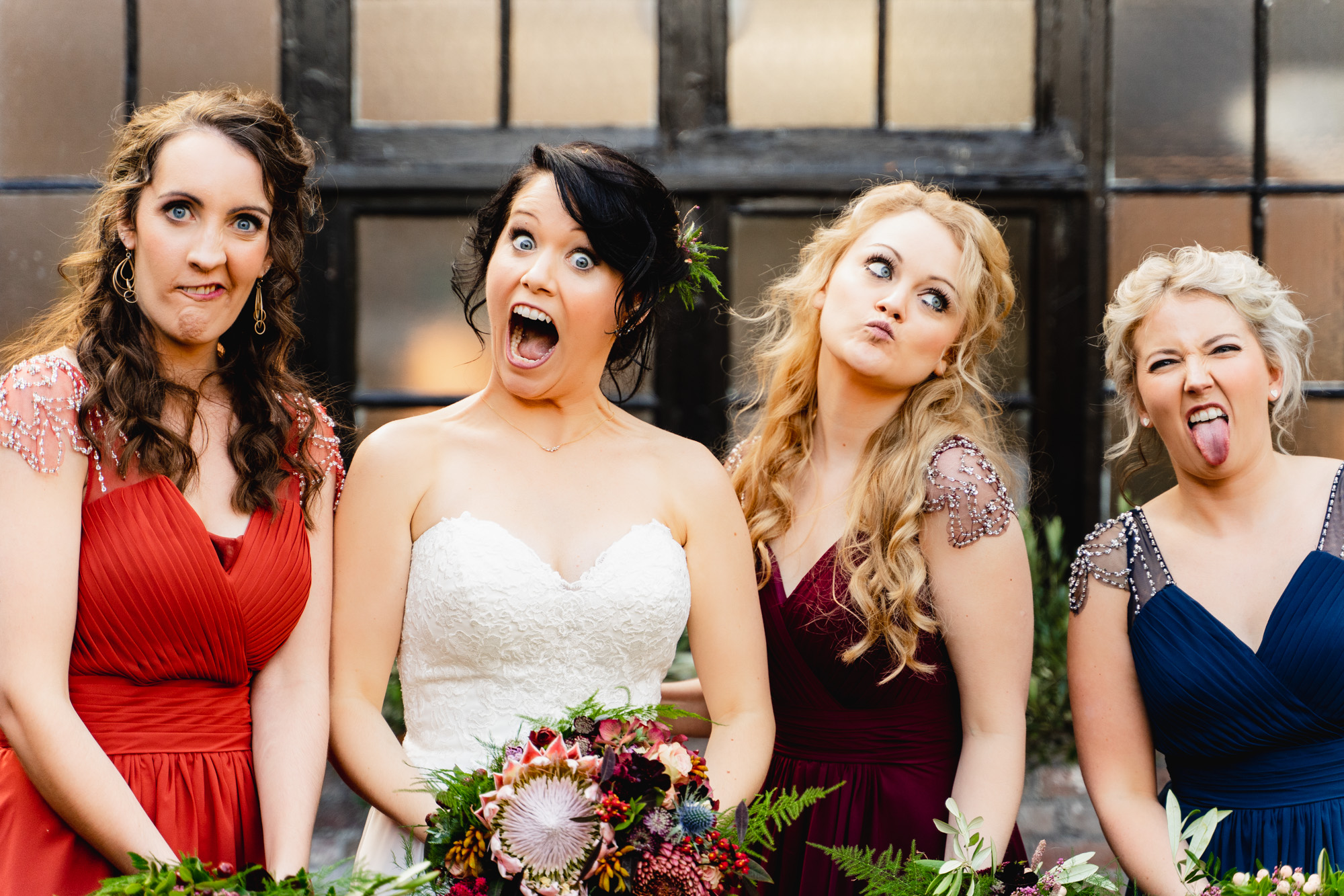 bridesmaids making faces and having fun