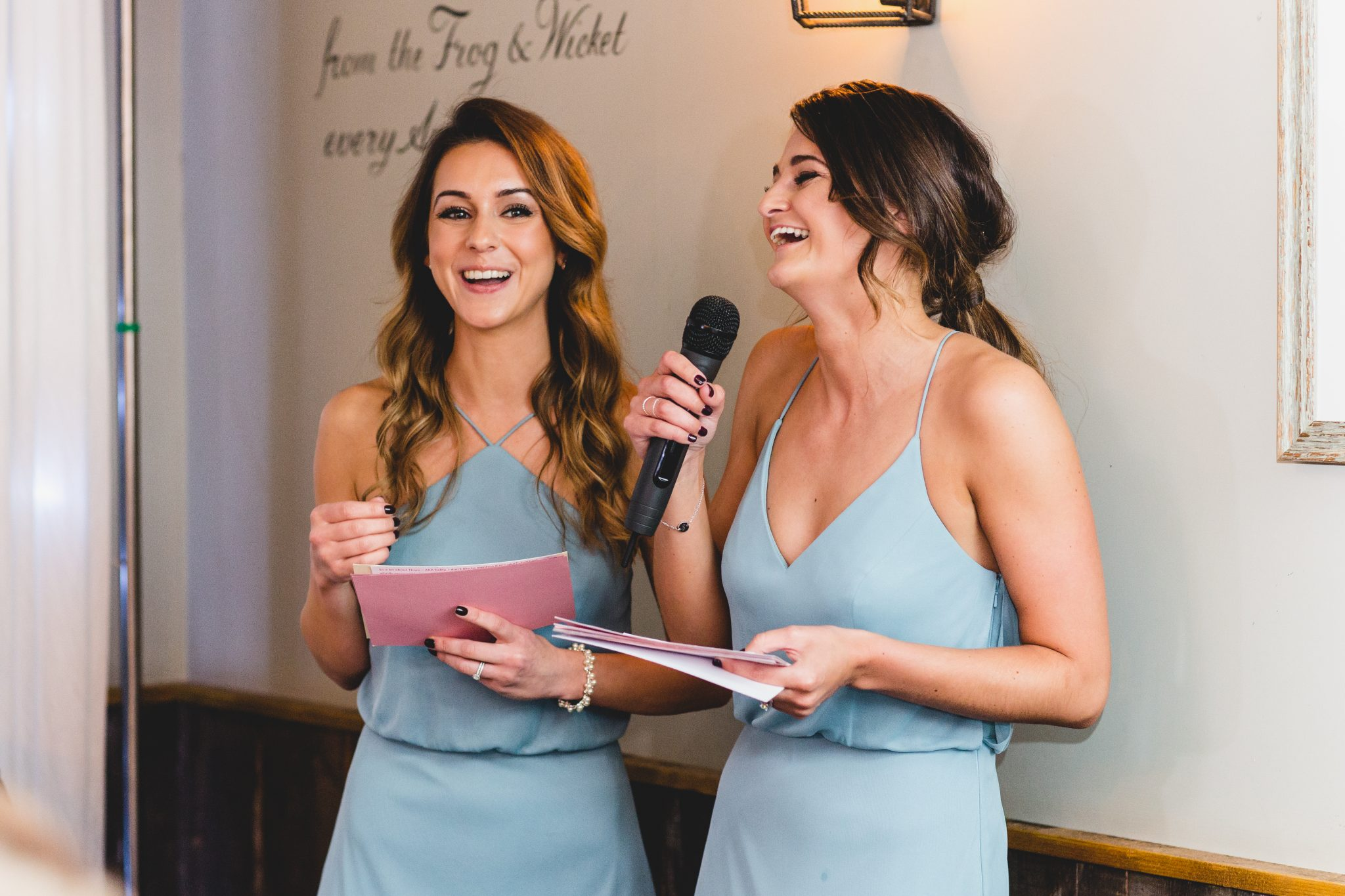 maids of honour giving speeches at frog and wicket pub