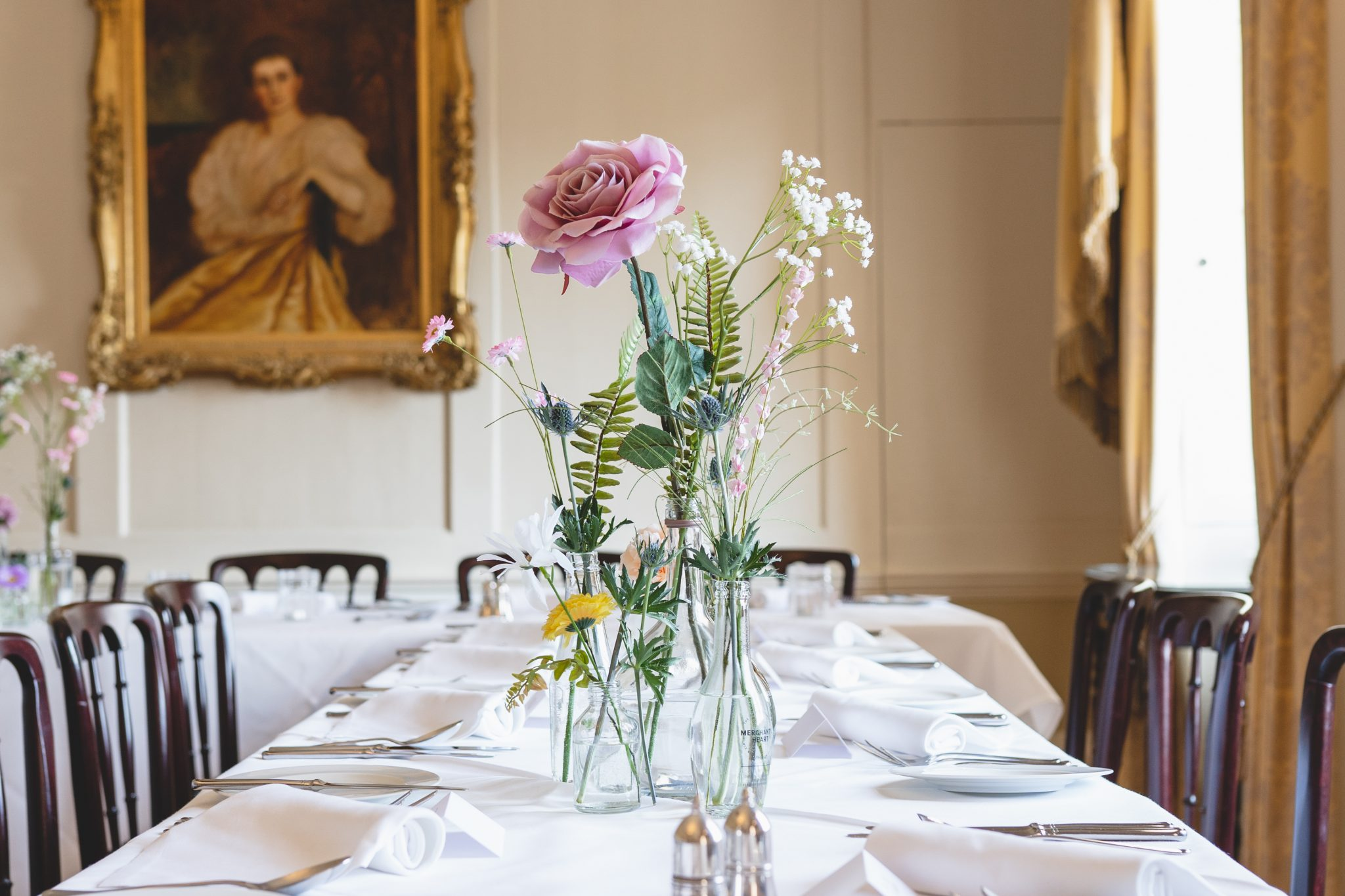Pentillie Castle Wedding Reception Room Style with artificial flowers