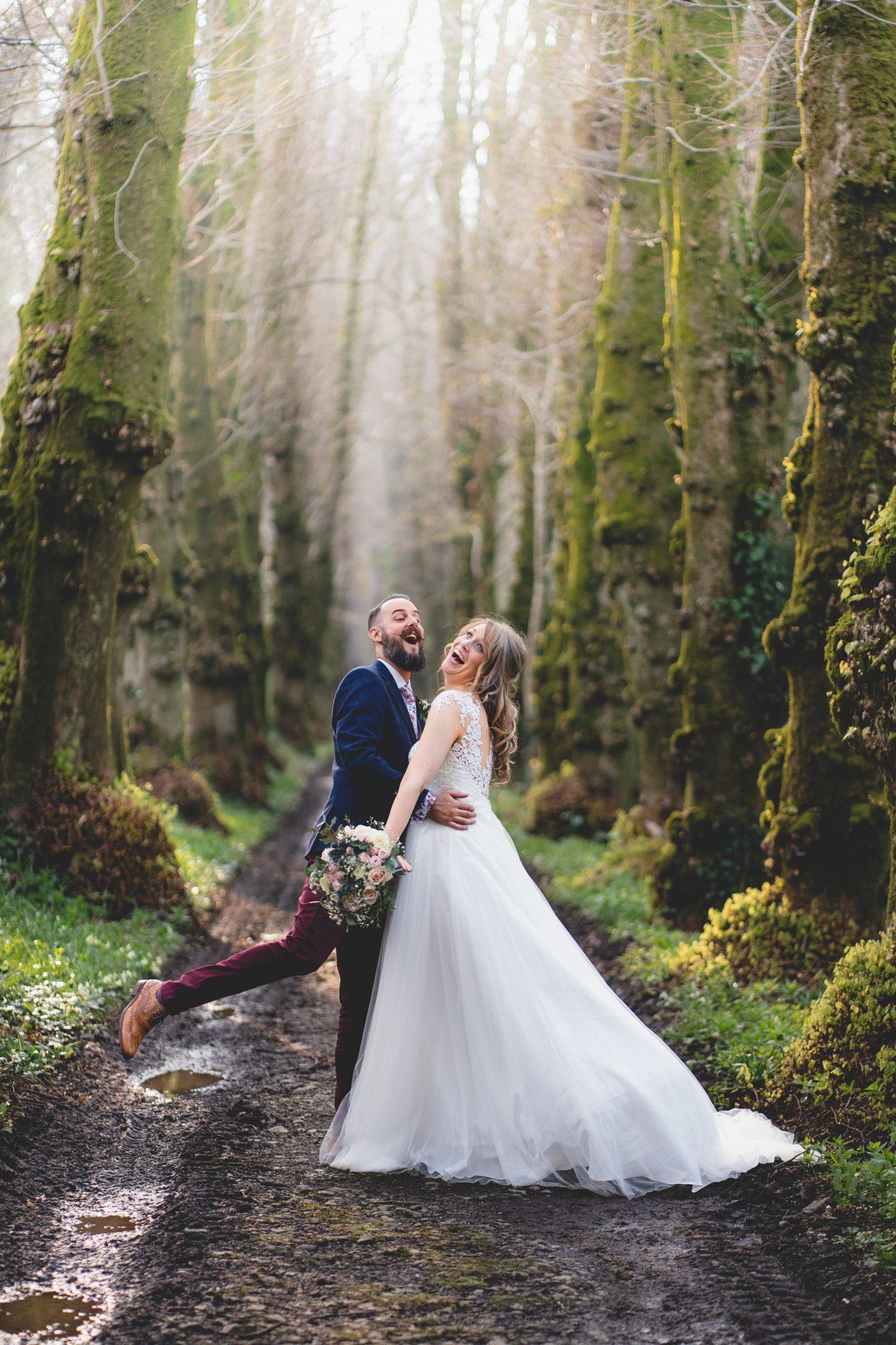 Pentillie Castle Wedding Bride and Groom Portraits Lime Avenue