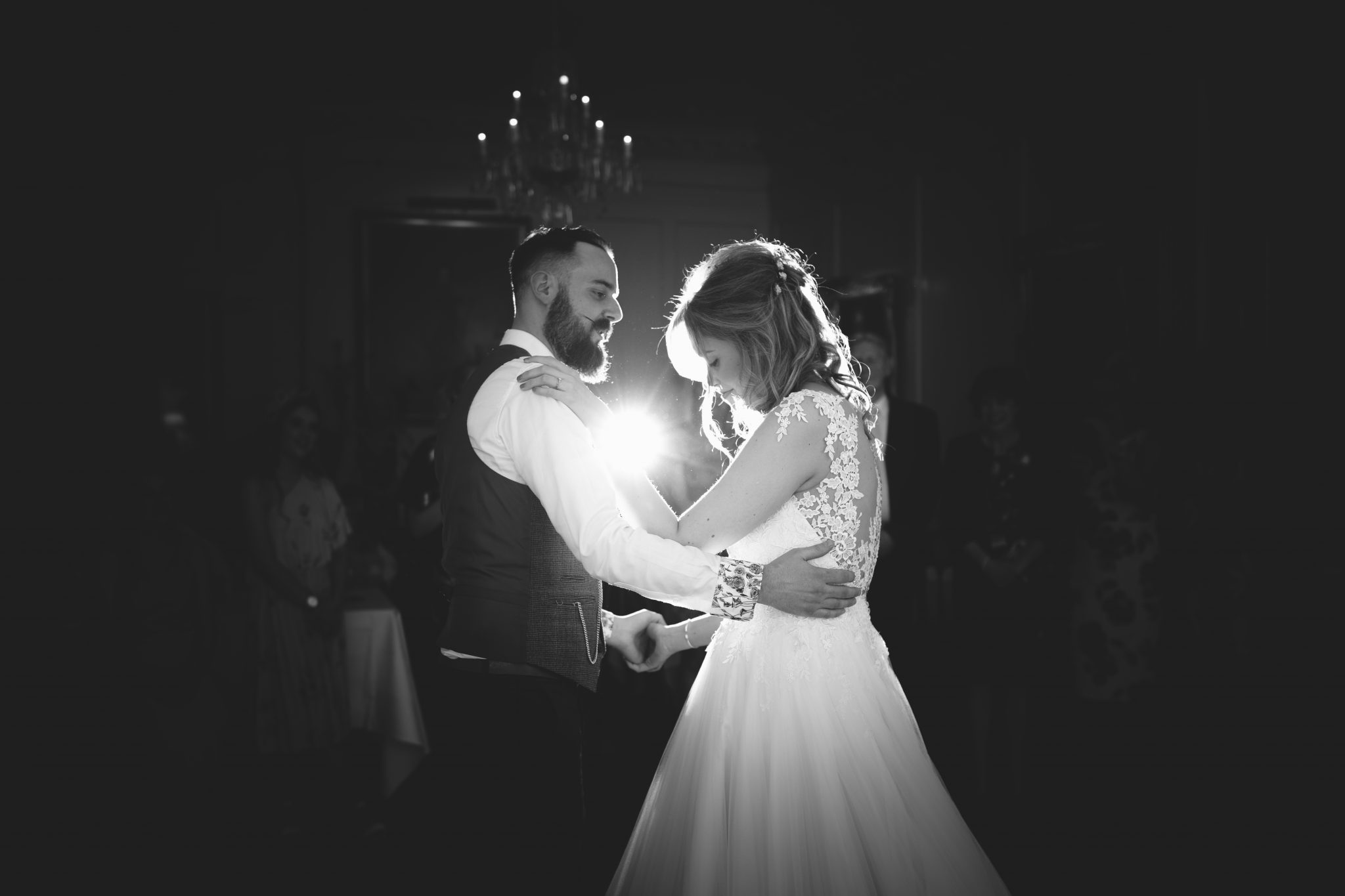 Bride and Groom take to the dance floor, Pentillie Castle Wedding