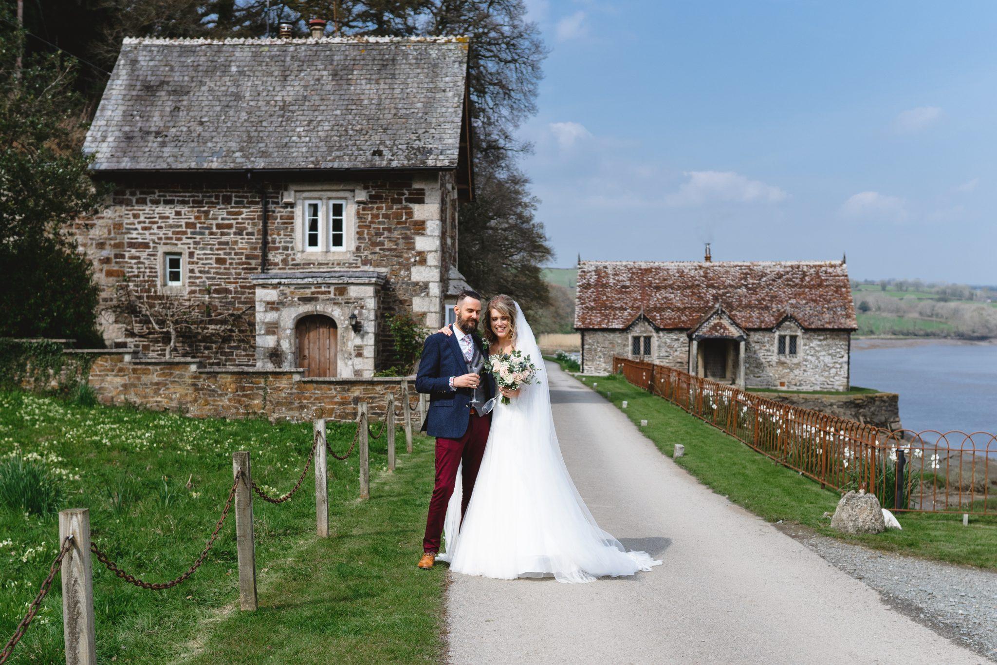 Pentillie Castle Wedding Venue Bride and Groom