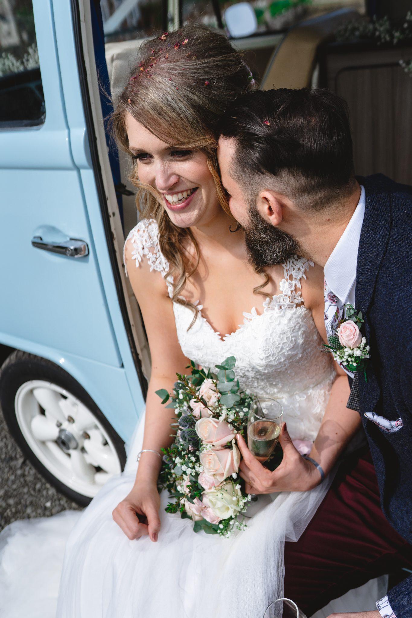 Pentillie Castle Wedding Venue Bride and Groom with VW Camper Van